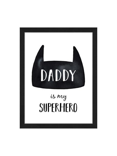 Ingelijste digitale print Daddy is my Superhero, Lijst: gelakt hout, Zwart, wit, 33 x 43 cm