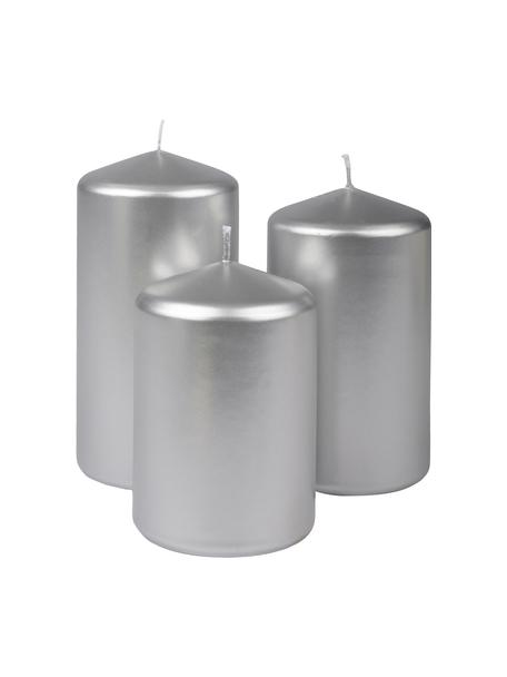 Set de velas pilar Parilla, 3pzas., Cera, Plateado, Set de diferentes tamaños