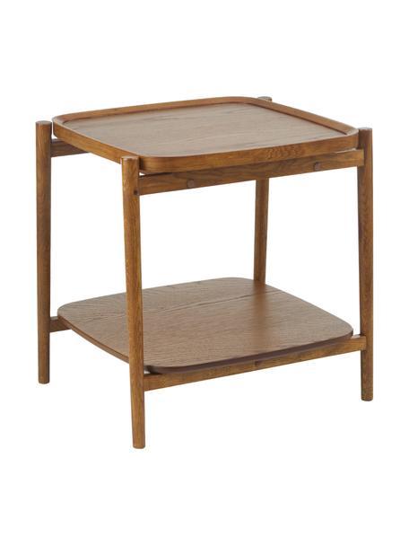 Mesa auxiliar de roble Libby, Estructura: madera maciza de roble pi, Marrón oscuro, An 49 x Al 50 cm