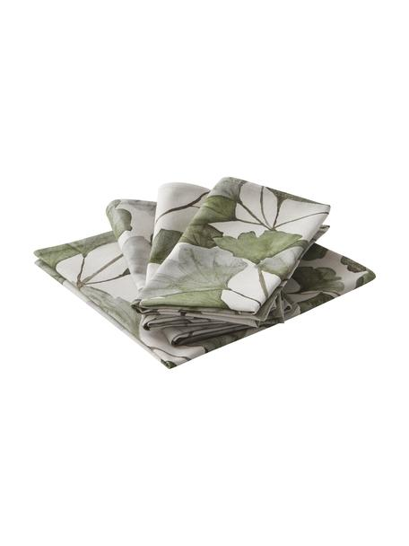 Katoenen servetten Gigi met bladmotief, 4 stuks, 100% katoen, Beige, groen, 45 x 45 cm