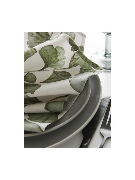 Baumwoll-Servietten Gigi mit Blättermotiven, 4 Stück, 100% Baumwolle, Beige, Grün, 45 x 45 cm