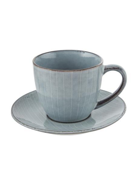Tazza con piattino in gres fatti a mano Nordic Sea, Gres, Tonalità grigie e blu, Ø 8 x Alt. 7 cm