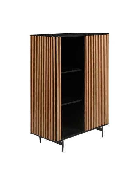 Dressoir Linea met schuifdeur en geribbelde voorzijde, Frame: MDF met gelakt eikenfinee, Poten: gelakt metaal, Zwart, eikenhoutkleurig, 98 x 135 cm