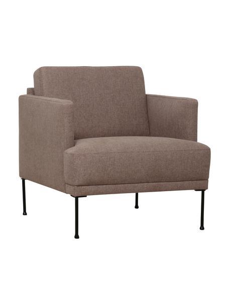 Sessel Fluente in Braun mit Metall-Füßen, Bezug: 100% Polyester 115.000 Sc, Gestell: Massives Kiefernholz, Füße: Metall, pulverbeschichtet, Webstoff Braun, B 74 x T 85 cm