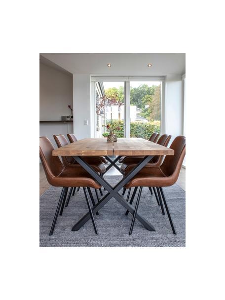 Mesa de comedor Montpellier, tablero de madera maciza, Tablero: madera de roble maciza ac, Estructura: metal con pintura en polv, Roble, negro, An 200 x F 95 cm