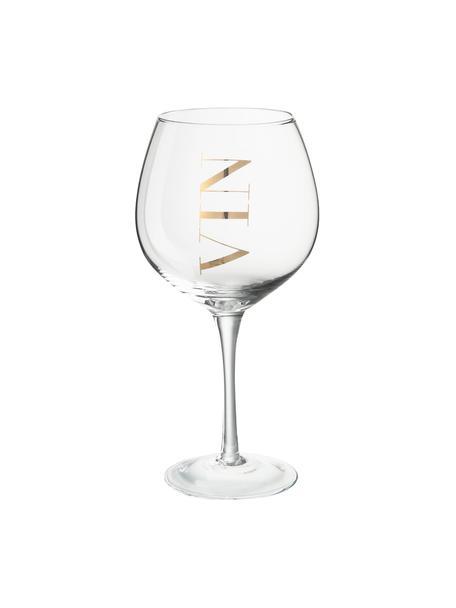 Bicchiere vino con scritta Vin 6 pz, Vetro, Trasparente, dorato, Ø 10 x Alt. 20 cm