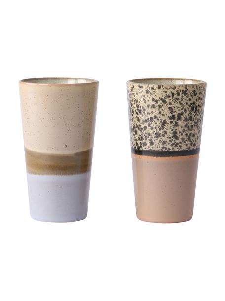Handgemaakte beker 70's, 2-delig, Keramiek, Multicolour, bruintinten, Ø 8 x H 13 cm