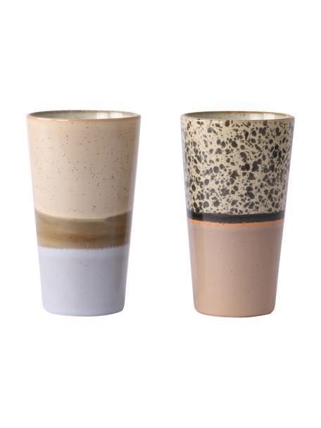 Handgemaakte bekersset 70's, 2-delig, Keramiek, Multicolour, bruintinten, Ø 8 x H 13 cm