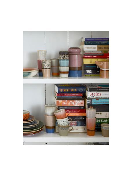 Set 2 tazze senza manico fatte a mano 70's, Gres, Multicolore, tonalità marroni, Ø 8 x Alt. 13 cm