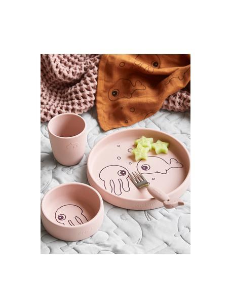 Geschirr-Set Sea Friends, 3-tlg., Silikon, lebensmittelecht Silikon ist weich, haltbar, hitzebeständig und für die Verwendung in Mikrowelle, Ofen und Gefrierschrank geeignet, Rosa, Set mit verschiedenen Größen