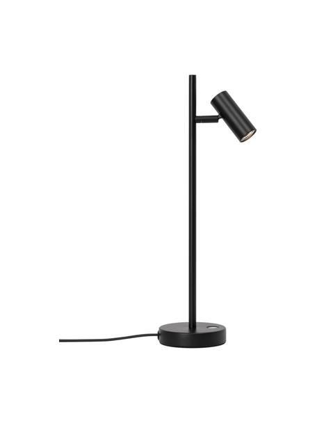 LED tafellamp Omari, Lampenkap: gecoat metaal, Lampvoet: gecoat metaal, Zwart, 10 x 40 cm