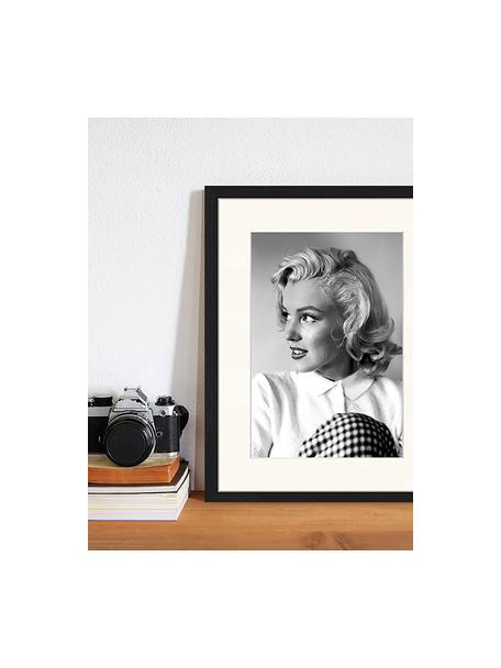Gerahmter Digitaldruck Marilyn Monroe, Bild: Digitaldruck auf Papier, , Rahmen: Holz, lackiert, Front: Plexiglas, Schwarz, Weiß, 33 x 43 cm