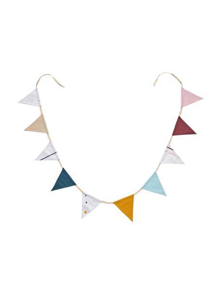 Kleurrijke slinger Zalia met vlaggen van biokatoen, 250 cm, 100% biokatoen, Wit, beige, lichtblauw, donkerblauw, oranje, rood, roze, L 250 cm