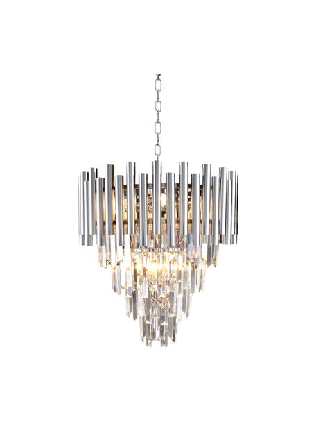 Lampadario cromato di design Madison, Struttura: metallo rivestito, Baldacchino: metallo rivestito, Cromato, trasparente, Ø 45 x Alt. 50 cm