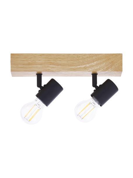 Mała lampa sufitowa z drewna Townshend, Czarny, drewno naturalne, S 30 x W 13 cm