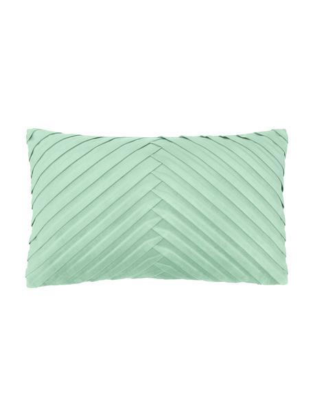 Fluwelen kussenhoes Lucie in saliegroen met structuur-oppervlak, 100% fluweel (polyester), Groen, 30 x 50 cm