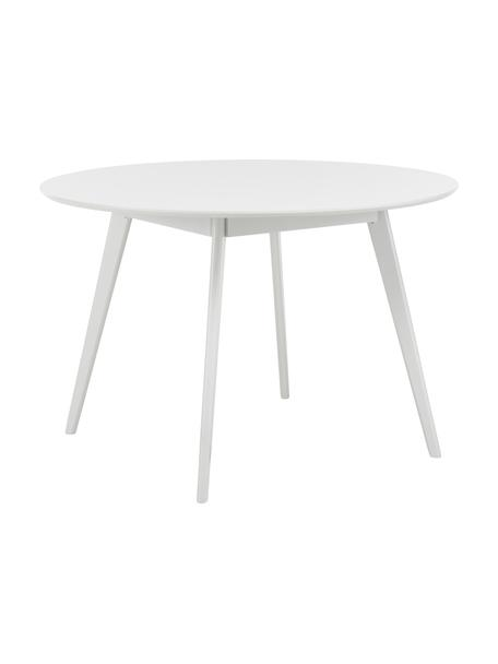 Okrągły stół do jadalni Yumi, Blat: płyta pilśniowa średniej , Nogi: lite drewno kauczukowe i , Biały, Ø 115 x W 74 cm
