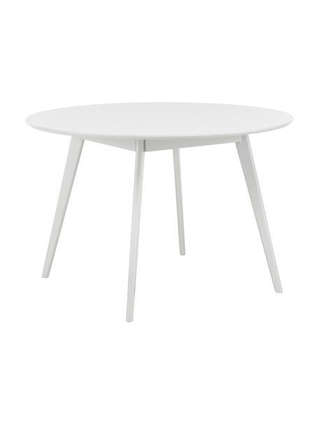Okrągły stół do jadalni z drewna Yumi, Blat: płyta pilśniowa średniej , Nogi: lite drewno kauczukowe i , Biały, Ø 115 x W 74 cm