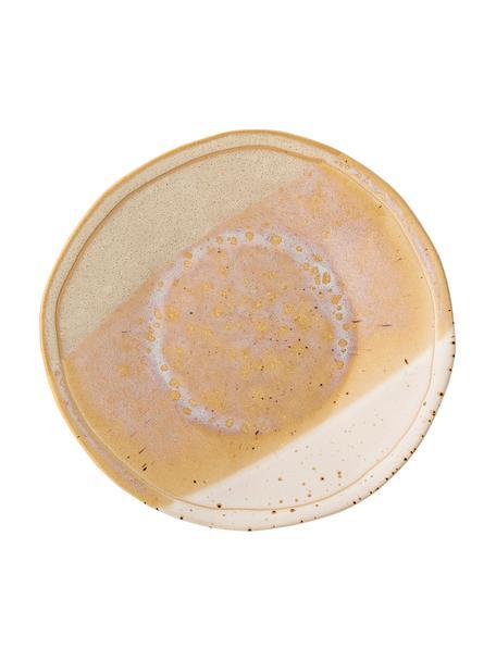 Handgemachter Speiseteller April mit effektvollen Farbverläufen, Steingut Eine Hälfte glasiert, eine Hälfte naturbelassen, was den Charakter der Handwerkskunst hervorhebt., Beigetöne, Ø 29 cm