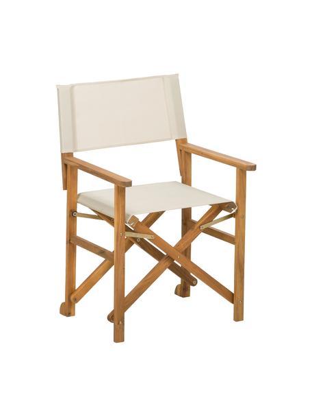 Sedia da regista pieghevole in legno Zoe, Struttura: legno di acacia oliato, Bianco, Larg. 52 x Prof. 58 cm