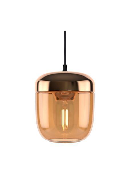 Kleine hanglamp Acorn van glas, Baldakijn: silicone, Koperkleurig, amberkleurig, Ø 14  x H 16 cm