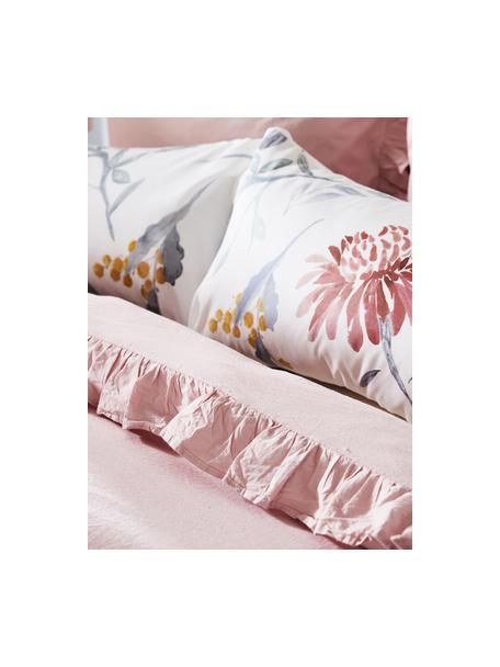 Poszewka na poduszkę z satyny bawełnianej Evie, 2szt., Przód: kwiatowy nadruk Tył: biały, S 40 x D 80 cm
