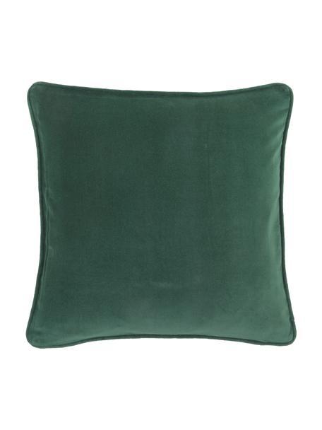 Funda de cojín de terciopelo Dana, 100%terciopelo de algodón, Verde esmeralda, An 50 x L 50 cm