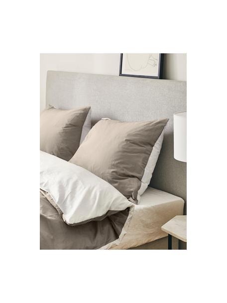 Dwustronna pościel z satyny bawełnianej Julia, Biały, taupe, 135 x 200 cm + 1 poduszka 80 x 80 cm