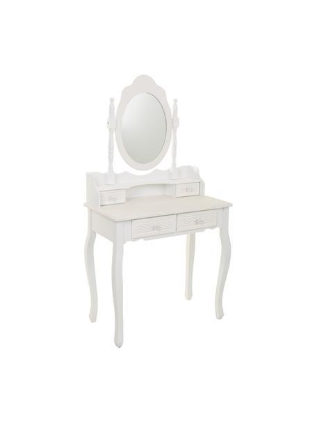 Tocador Bibi, Estructura: madera de pino, tablero d, Espejo: cristal, Blanco, crema, An 75 x Al 141 cm