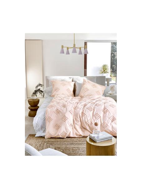 Poszewka na poduszkę z perkalu  z tuftowaną dekoracją Fia, 2 szt., Morelowy, S 40 x D 80 cm