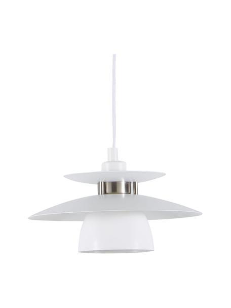 Kleine hanglamp Brenda, Lampenkap: gelakt metaal, Baldakijn: gelakt metaal, Wit, Ø 32  x H 19 cm
