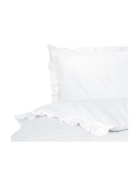 Gewaschene Baumwoll-Bettwäsche Florence mit Rüschen, Webart: Perkal Fadendichte 180 TC, Weiß, 135 x 200 cm + 1 Kissen 80 x 80 cm
