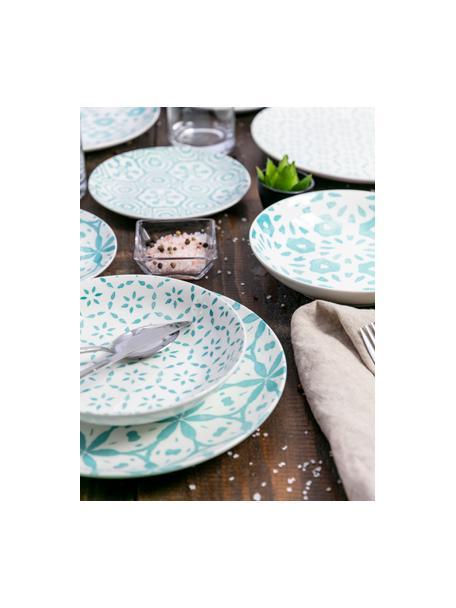 Serviesset met patroon Bodrum in turquoise/wit, 6 personen (18-delig), Porselein, Turquoise, wit, Set met verschillende formaten