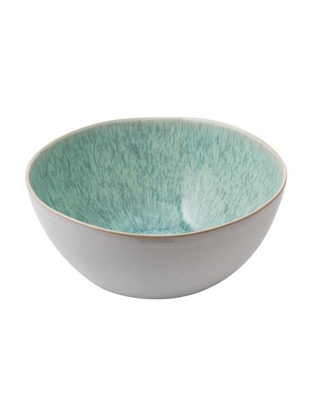 Handbemalte Salatschüssel Areia mit reaktiver Glasur, Ø 26 cm, Steingut, Mint, Gebrochenes Weiß, Beige, Ø 26 x H 12 cm