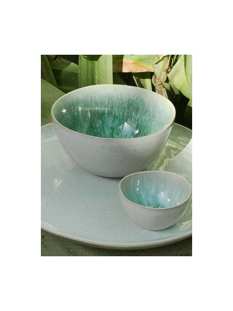Handbeschilderde saladeschaal Areia met reactief glazuur, Ø 26 cm, Keramiek, Mintkleurig, gebroken wit, beige, Ø 26 x H 12 cm