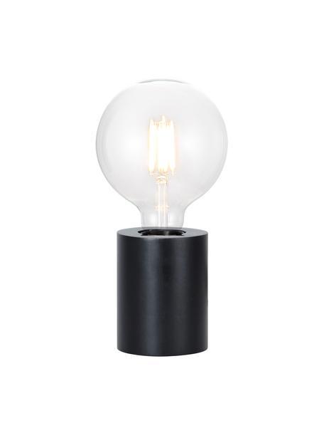 Kleine tafellamp Tub van hout, Lampvoet: gecoat hout, Zwart, Ø 8 x H 10 cm