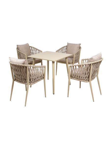 Set lounge para exterior Brown, 5pzas., Tapizado: 100%poliéster, Beige, Set de diferentes tamaños