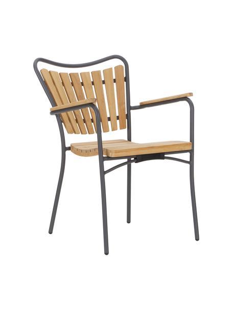 Krzesło ogrodowe z podłokietnikami  Hard & Ellen, Stelaż: aluminium malowane proszk, Antracytowy, drewno tekowe, S 56 x W 78 cm
