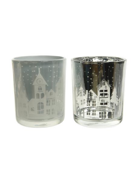 Waxinelichthoudersset Houses, 2-delig, Glas, Zilverkleurig, transparant, Ø 7 x H 9 cm