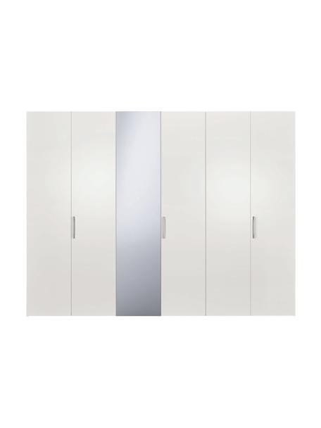Kleiderschrank Madison 6-türig mit Spiegeltür, inkl. Montageservice, Korpus: Holzwerkstoffplatten, lac, Weiß, Mit Spiegeltür, 302 x 230 cm
