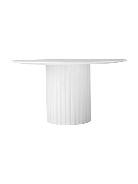 Runder Esstisch Pillar in Weiß mit Rillen-Dekor, Sungkai-Holz, Mitteldichte Holzfaserplatte (MDF), Weiß, Ø 140 x H 75 cm