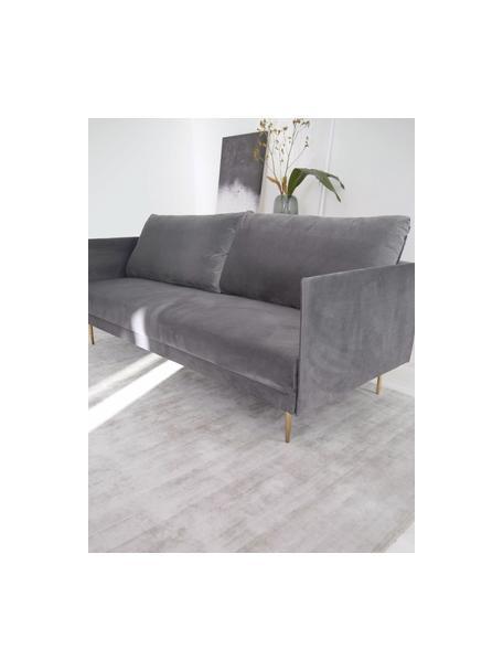 Sofá cama de terciopelo Lauren, plegable, Tapizado: terciopelo (poliéster) Al, Estructura: madera de pino, Patas: metal pintado, Terciopelo gris, An 206 x Al 87 cm
