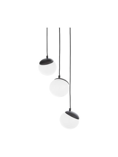 Cluster-Pendelleuchte Sfera aus Opalglas, Lampenschirm: Opalglas, Dekor: Metall, lackiert, Baldachin: Metall, lackiert, Schwarz, Opalweiß, Ø 35 cm