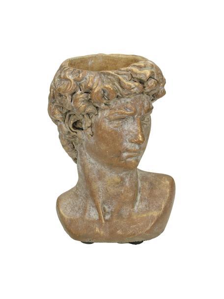 Macetero David, Cemento, Marrón, dorado con efecto vintage, An 10 x Al 15 cm