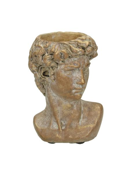 XS Übertopf David aus Beton, Beton, Braun, Goldfarben mit Antik-Finish, 10 x 15 cm