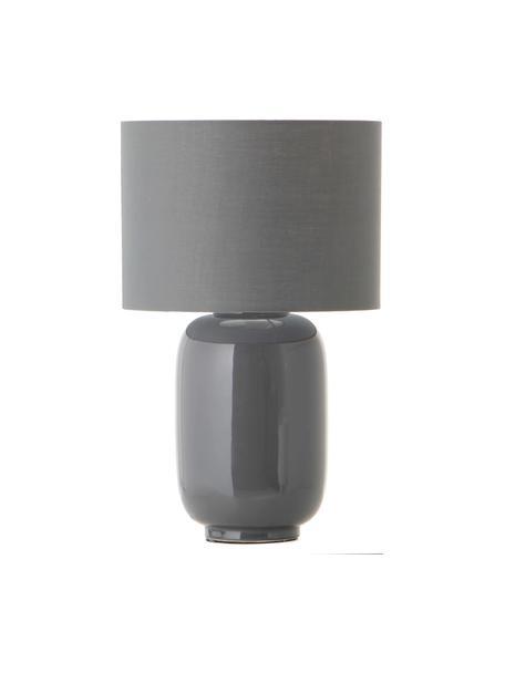 Keramik-Tischlampe Cadiz in Grau, Lampenschirm: Stoff, Lampenfuß: Keramik, Grau, Ø 28 x H 43 cm