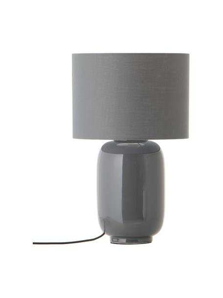 Lampada da comodino in ceramica Cadiz, Paralume: tessuto, Base della lampada: ceramica, Grigio, Ø 28 x Alt. 43 cm