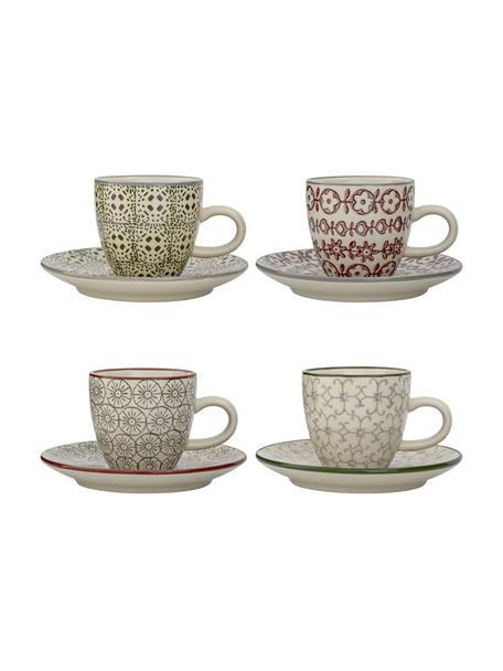 Espressotassen mit Untertassen Karine mit kleinem Muster, 4 Stück, Steingut, Weiß, Grün, Rot, Grau, Ø 6 x H 6 cm