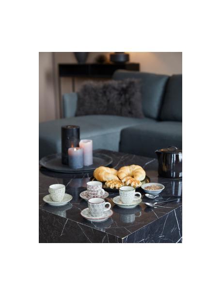 Espressotassen mit Untertassen Karine mit kleinem Muster, 4 Stück, Steingut, Weiss, Grün, Rot, Grau, Ø 6 x H 6 cm