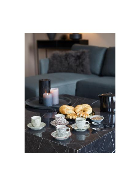 Set 4 tazzine da caffè con piattini Karine, Gres, Bianco, verde, rosso, grigio, Ø 6 x Alt. 6 cm
